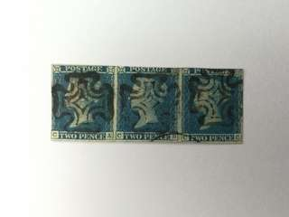 1841 2d Blue Strip of 3 with Black Maltes Cross (CA,CB,CC)
