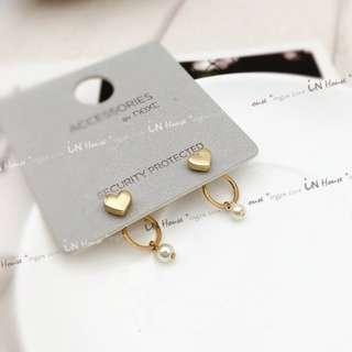 日韓 甜美風 幾何 圓圈 金色 愛心 造型 珍珠 前後釦 耳環 耳釘 (特價)