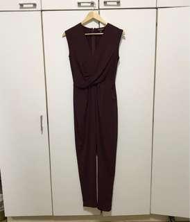 Miss Selfridge Maroon Jumpsuit (NEVER WORN!)