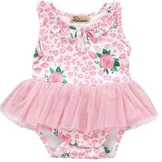 Instock - pink floral tulle romper, baby infant toddler girl children sweet kid happy ancdefgh so pretty