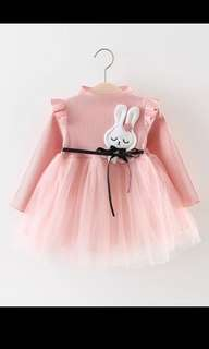 Autumn Long Sleeve Mesh Patchwork Cartoon Rabbit Baby Party Girl Kids Princess Infants Ball Gown Velvet Tutu Dress