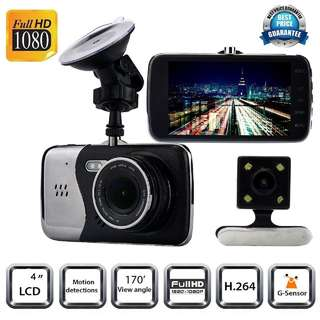 4inch Full HD 1080P Car DVR Double lens Car Dash Camera WDR Recorder with G-sens
