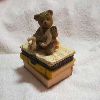 Vintage Handmade Ceramic Chest Box with Bear Figurine and Musical Books