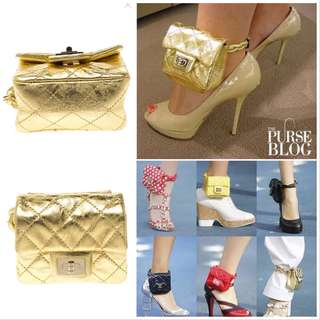 CHANEL Spring 2008 Runway Gold Lambskin Quilted Ankle Purse Mini Reissue Classic Flap Bag ✨Collector Piece from KC Concepcion's Closet & World Food Program Charity Auction ✨