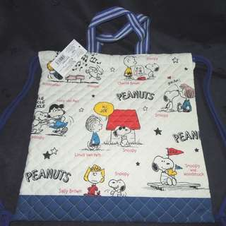 Saniro ~ Snoopy & his friends Cotton Backpack Hand Drawstring Bag