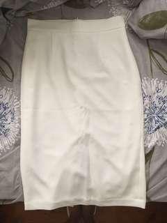White pencil work skirt