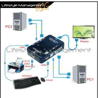 2/4 Port KVM Switch (Computer Printer Storage Keyboard Video Mouse Monitor)