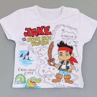 brand new 6mth to 5 yr old size, jake and the never land children t shirt cotton short sleeve kids