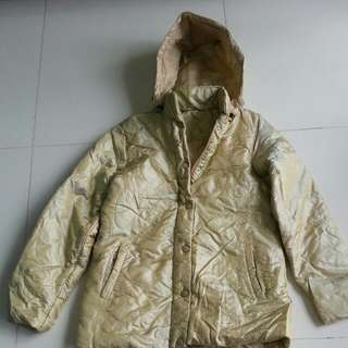 Winter Time Down Jacket Like New.Size M Unique Radiant Gold & Bundle sweaterS and fleece jacket and new cardigan from wanko