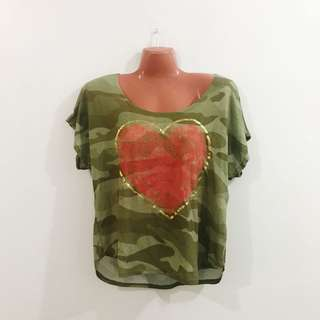 Army Heart Croppd Top