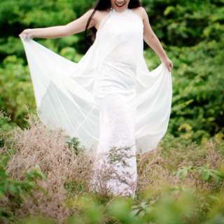 Wedding Gown/ White Long Gown With Sheer Cape