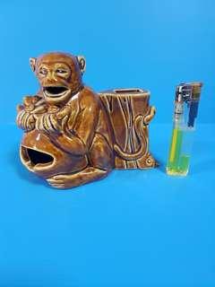 Vintage ceramic brown monkey ashtray