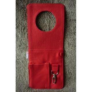 紅色 帆布 掛門鎖 收納袋 Wall hanging pocket