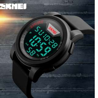 SKMEI fashion mens LED watch digital display silicone strap 6months warranty Japan machine#1218