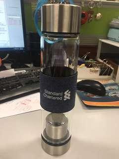 Water bottle with tea strainer