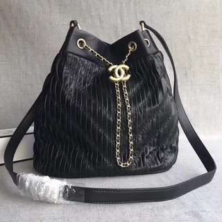Chanel Coco Pleats Calfskin Drawstring Bag (Just look at the price without looking at quality.Please bypass,Tq)