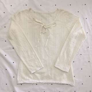 Cream Knitted Long Sleeves
