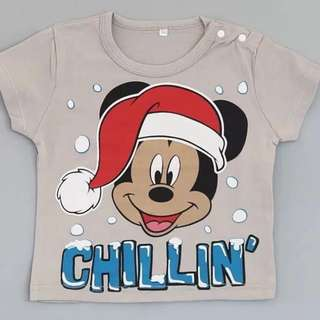 brand new 6mth, 2-3yr and 3-4yr old size available, mickey mouse christmas hat short sleeve t shirt children clothes, boys or girls