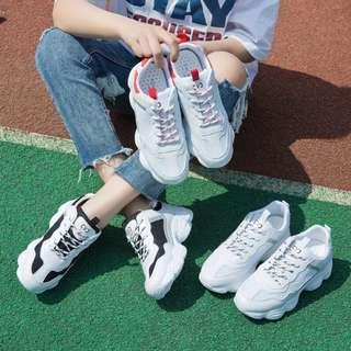 🚚 ulzzang拼色系帶網面運動鞋