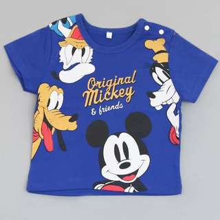 6mth to 4 yr brand new mickey mouse in blue t shirt cotton material children clothes boys toddler baby gift