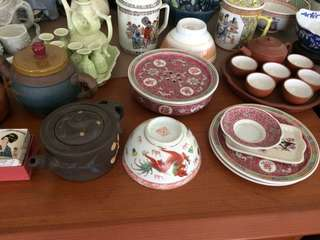 Vintage bowls n plates/ teapots Clay