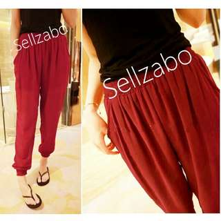 #S7 Size L Ruched Bottom Chiffon Long Harem Pants Sellzabo Red Colour Ladies Girls Women Female Lady Cooling