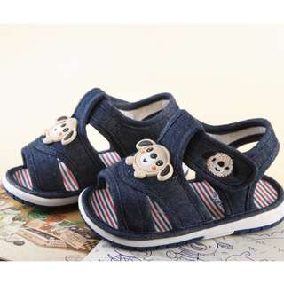 Denim colour Toddler walking shoe with squeet sound for 20mins onwards size 19