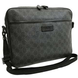 Gucci shoulder bag GG plus messenger bag PVC leather charcoal gray black (SHIP FROM JAPAN