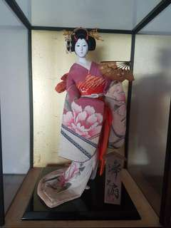 Japanese Doll c/w glass casing