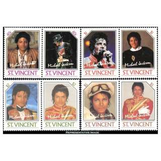 St Vincent MICHAEL JACKSON  1985 MNH Unissued set 8 pcs