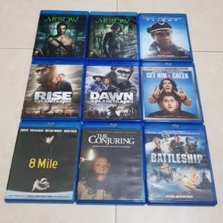 Various TV and Movie Bluray Used but Like New
