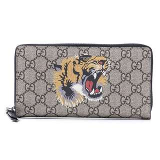 Gucci Zip Around Long Wallet Coin Purse With Tiger Print GG Supreme Tiger Printed GG Supreme (SHIP FROM JAPAN)