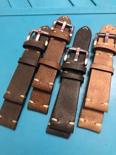 (Distressed brown left)Custom 19mm calf leather straps from Martu