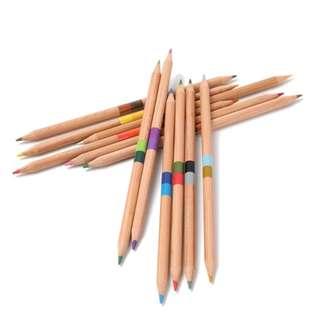 美國Solabela 三角筆桿彩色鉛筆雙頭 木顏色 24色(彩色)
