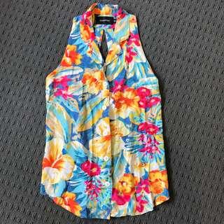 Minkpink Hawaiian Floral Cut Out Shirt XS/8 Mink Pink