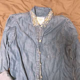 Denim Button Top with Sequined Collar