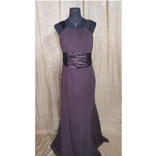 Chiffon and Charmeuse Truffle Brown Gown