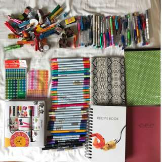 HUGE STATIONERY BUNDLE - notebooks, pens, markers, stickers, magnets,clips