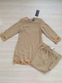 *NEW* Brown Baju Kurung with beading