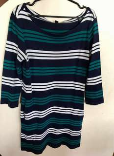 Uniqlo Striped 3/4 sleeve shift dress