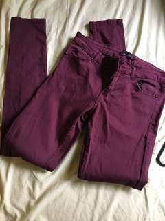 Maroon stretchy jeans