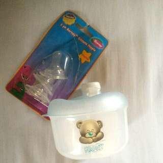 Bundle:milk container+barney 3pcs nipple