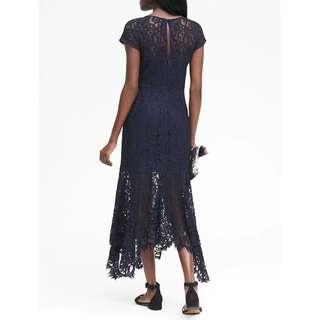 美國正品深藍蕾絲簍空洋裝