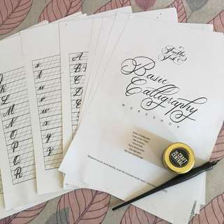 Calligraphy set pen with ink and worksheets