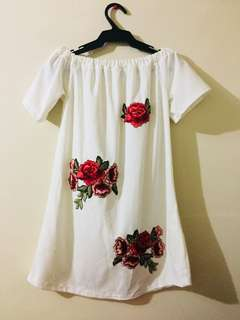 Off shoulder Kikay White Mini dress with flower detail