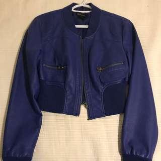 Cobalt Blue Faux Leather Cropped Jacket