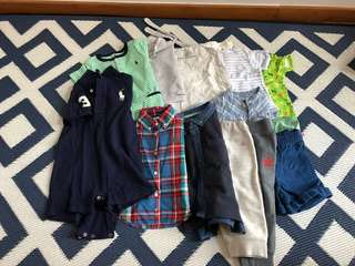 Various brand clothes items