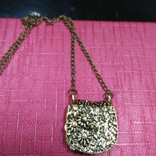Ladies Brass wallet necklace