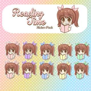 Reading Time Stickers - Planner Stickers - Kawaii Stickers