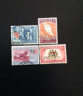 Malaya 1957 General Issue Set 4V Used (0417)